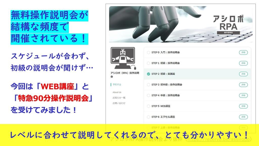 アシロボRPA操作説明会より抜粋(https://reserva.be/assirobo) 無...