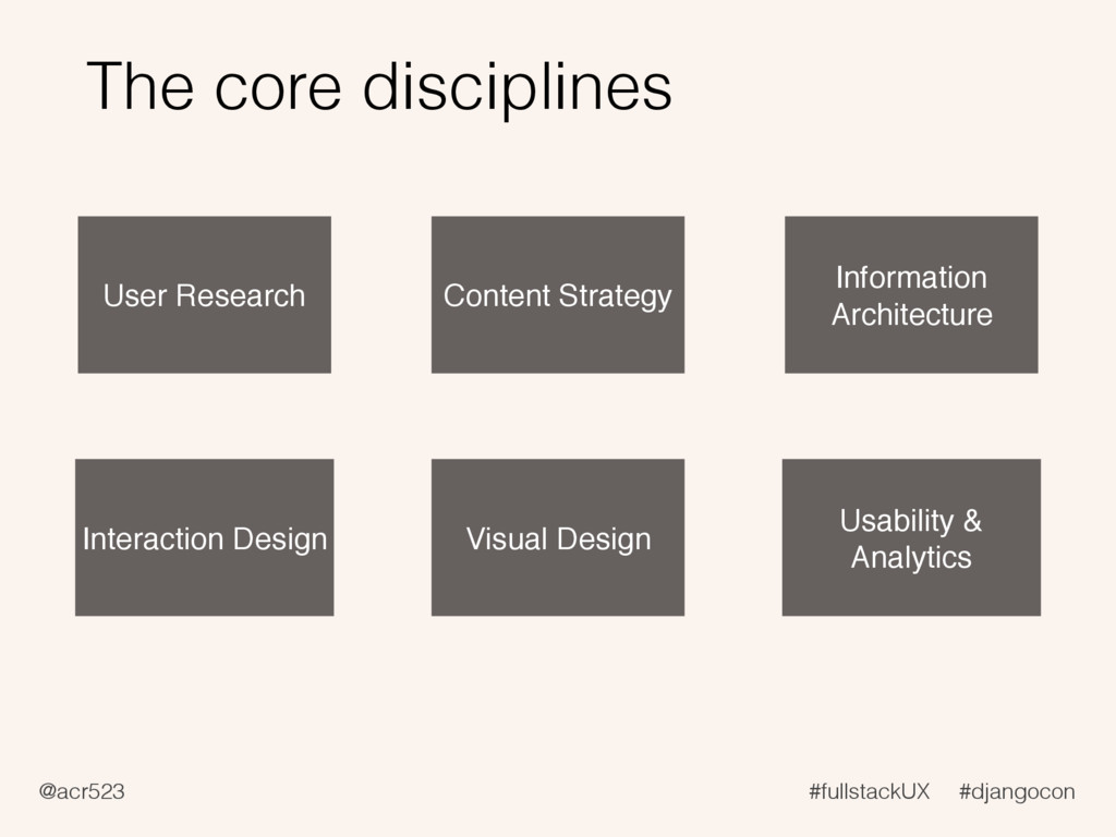 @acr523 #fullstackUX #djangocon The core discip...