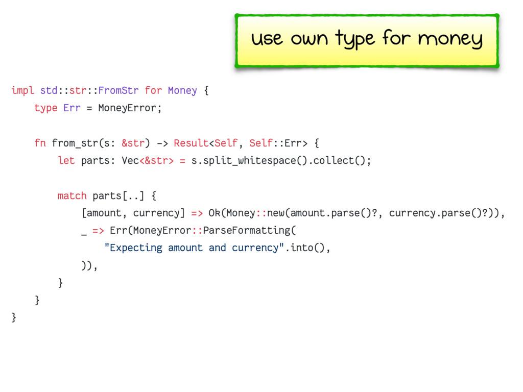 impl std::str::FromStr for Money { type Err = M...