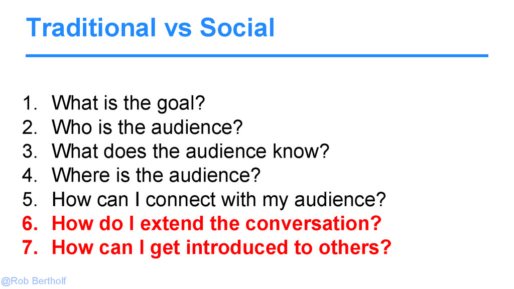 @Rob Bertholf Traditional vs Social 1. What is ...