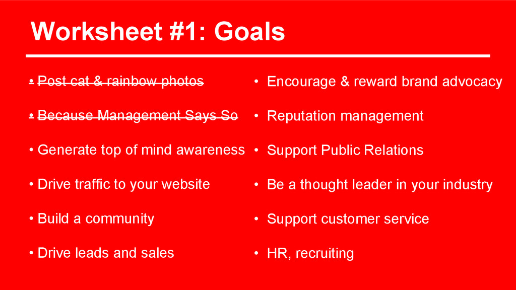 Worksheet #1: Goals • Post cat & rainbow photos...