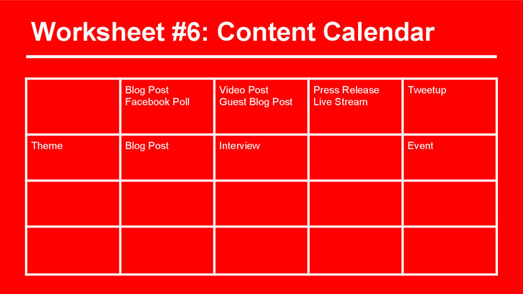 Worksheet #6: Content Calendar Blog Post Facebo...