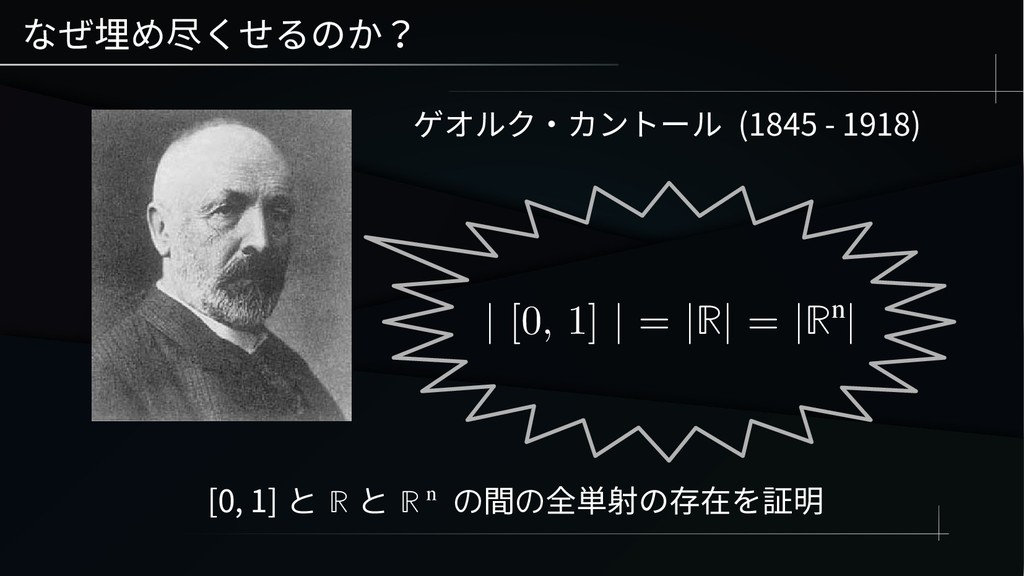 なぜ埋め尽くせるのか? ゲオルク・カントール (1845 - 1918) | [0, 1] |...