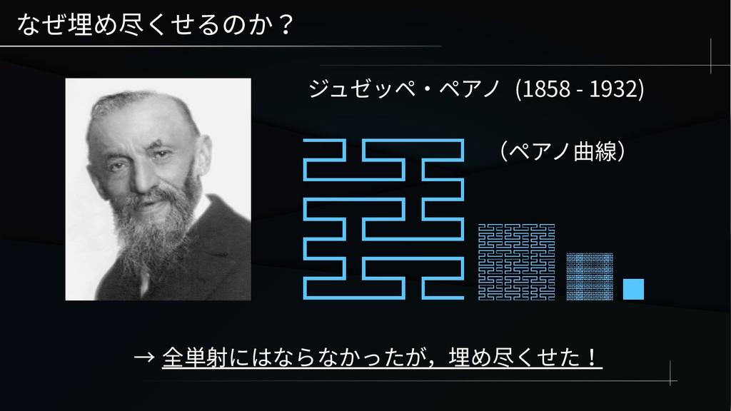 なぜ埋め尽くせるのか? ジュゼッペ・ペアノ (1858 - 1932) → 全単射にはならなか...