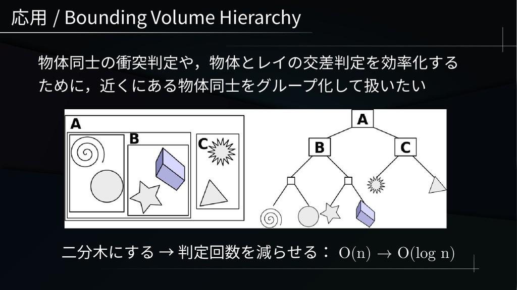 応用 / Bounding Volume Hierarchy 物体同士の衝突判定や,物体とレイ...