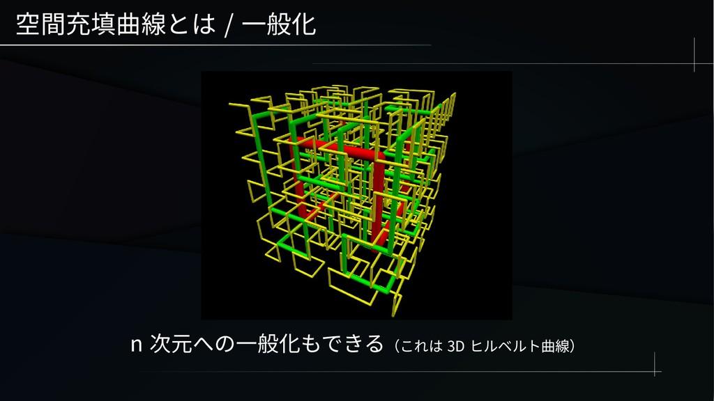 空間充填曲線とは / 一般化 n 次元への一般化もできる(これは 3D ヒルベルト曲線)