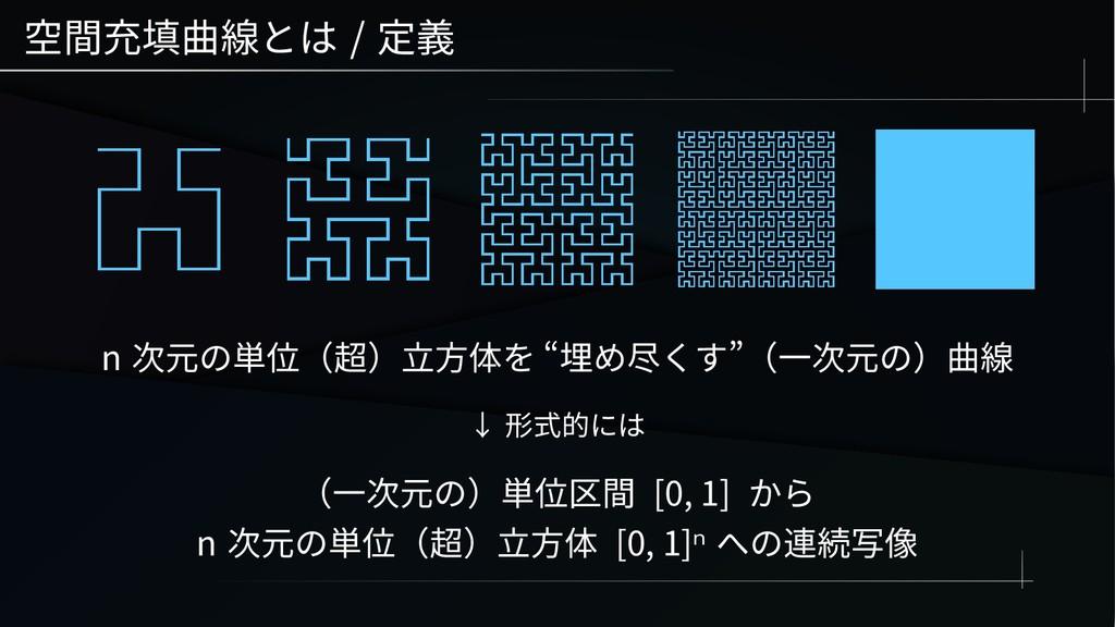 """空間充填曲線とは / 定義 n 次元の単位(超)立方体を """"埋め尽くす""""(一次元の)曲線 ↓ ..."""