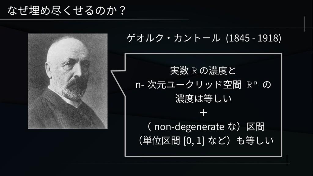 なぜ埋め尽くせるのか? ゲオルク・カントール (1845 - 1918) 実数 ℝ の濃度と ...