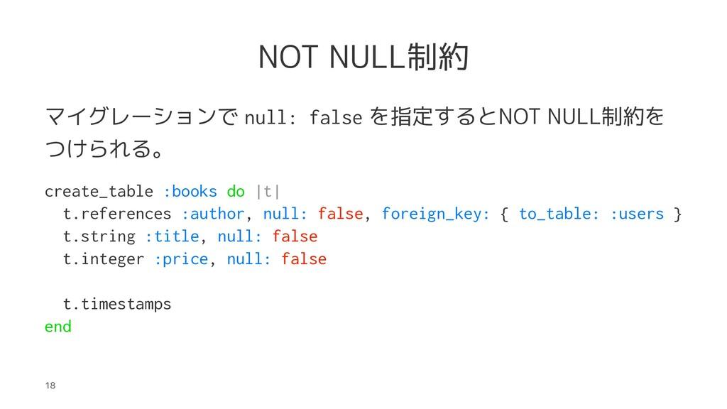 NOT NULL制約 マイグレーションで null: false を指定するとNOT NULL...