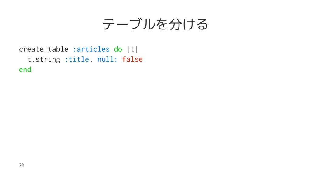 テーブルを分ける create_table :articles do |t| t.string...