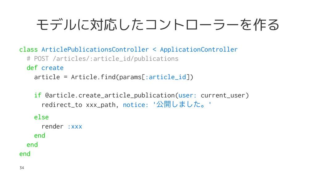 モデルに対応したコントローラーを作る class ArticlePublicationsCon...