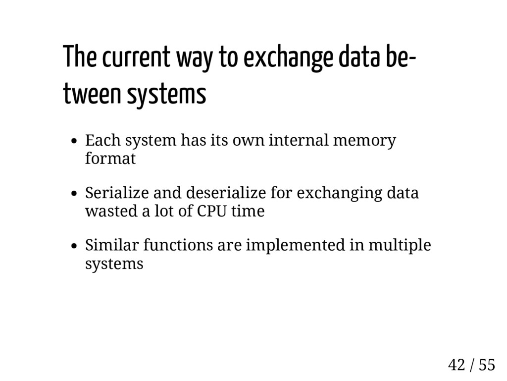 The current way to exchange data be- tween syst...