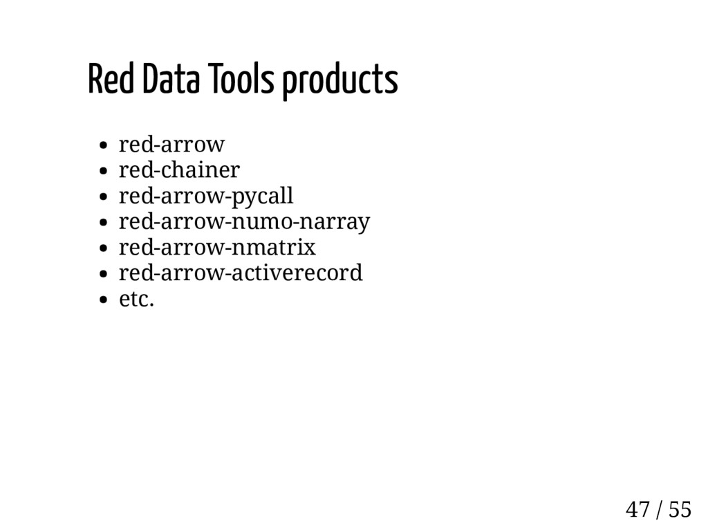 Red Data Tools products red-arrow red-chainer r...