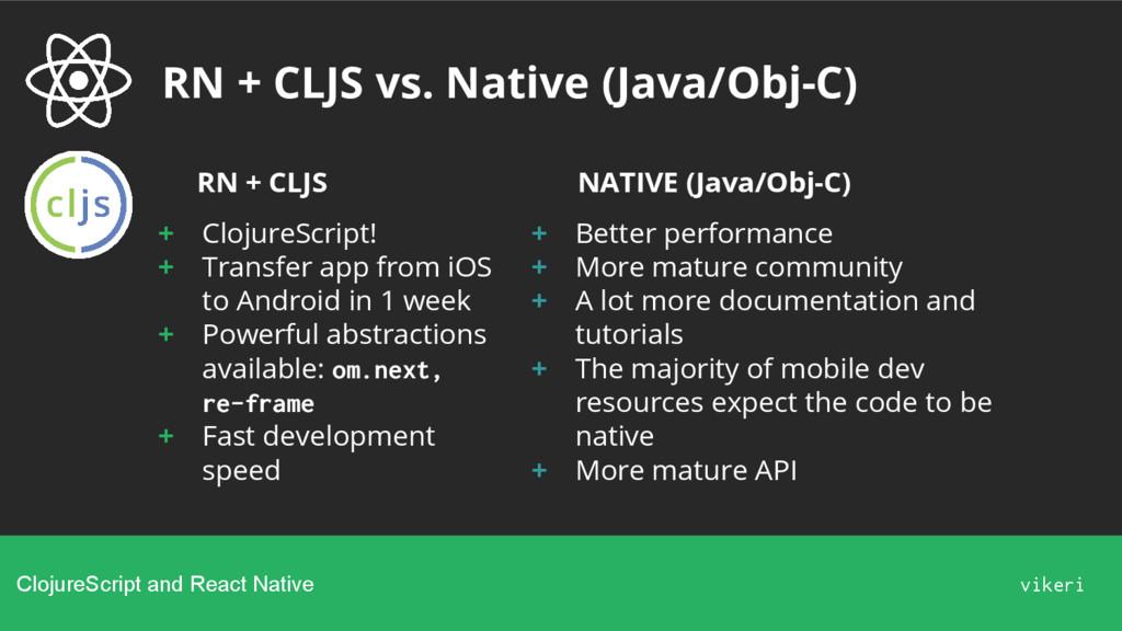 RN + CLJS vs. Native (Java/Obj-C) ClojureScript...