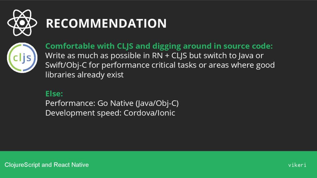 RECOMMENDATION ClojureScript and React Native v...