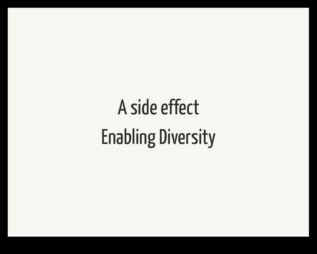 A side effect Enabling Diversity