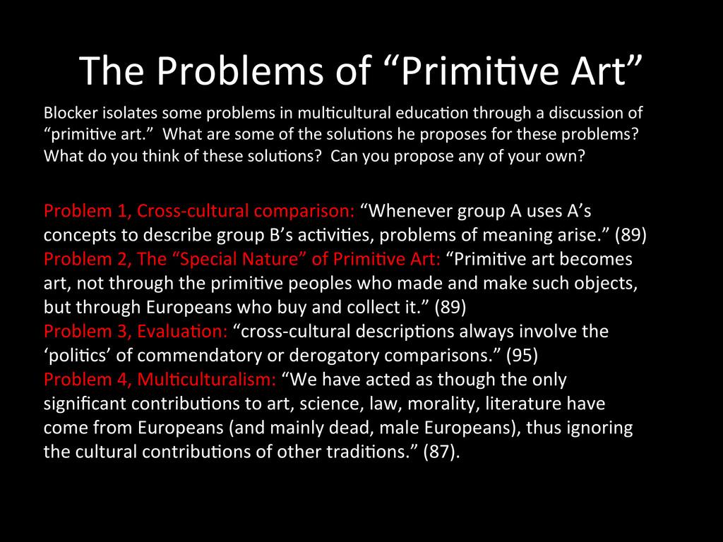 "The Problems of ""Primi0ve Art""  ..."