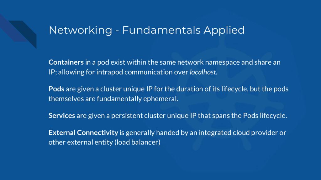 Networking - Fundamentals Applied Containers in...