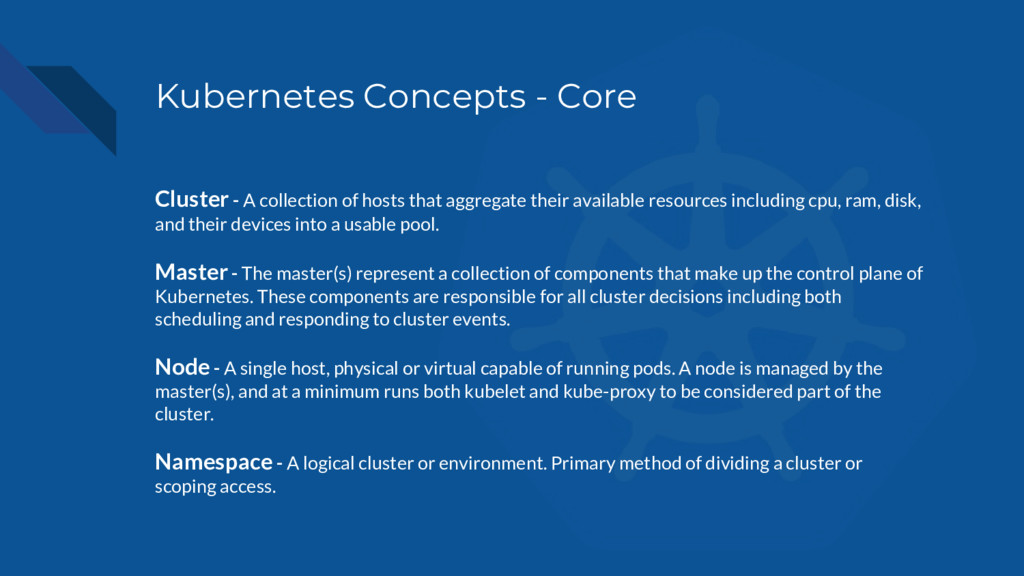 Kubernetes Concepts - Core Cluster - A collecti...
