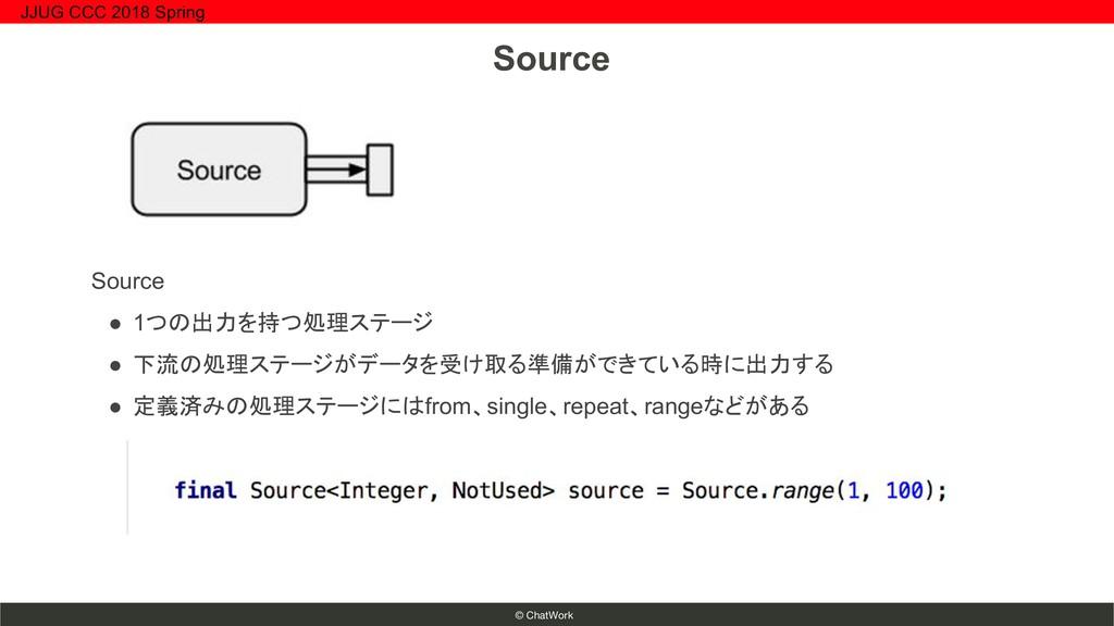 © ChatWork Source ● 1つの出力を持つ処理ステージ ● 下流の処理ステージが...