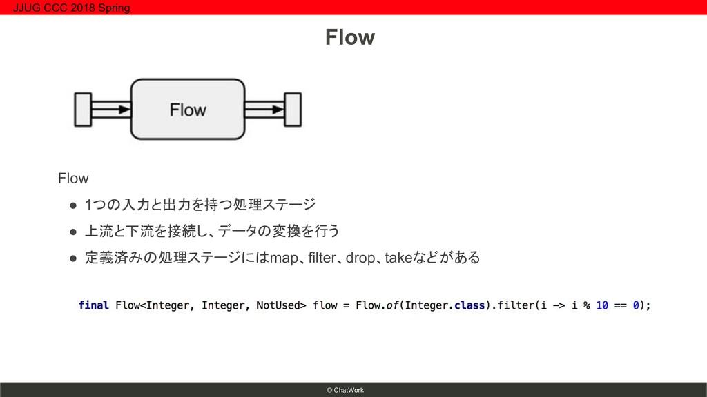 © ChatWork Flow ● 1つの入力と出力を持つ処理ステージ ● 上流と下流を接続し...