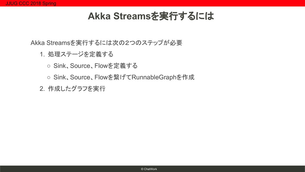 © ChatWork Akka Streamsを実行するには次の2つのステップが必要 1. 処...