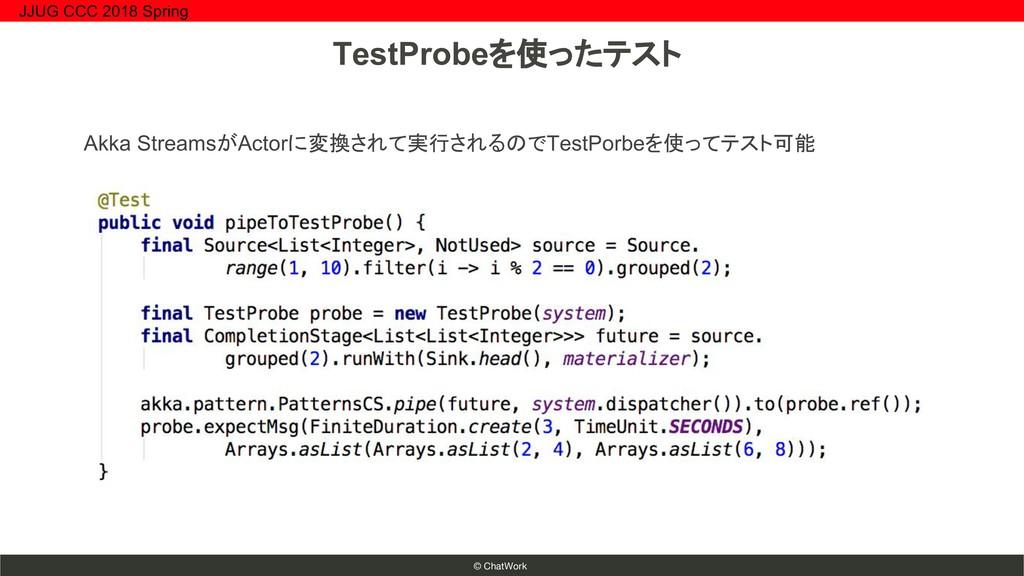 © ChatWork Akka StreamsがActorに変換されて実行されるのでTestP...