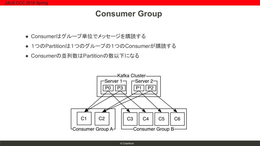 © ChatWork ● Consumerはグループ単位でメッセージを購読する ● 1つのPa...