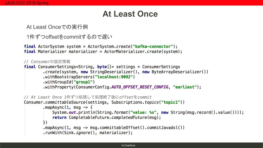 © ChatWork At Least Onceでの実行例 1件ずつoffsetをcommit...