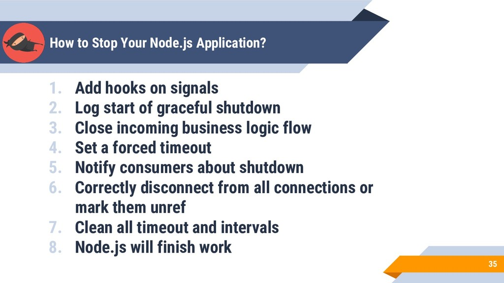 How to Stop Your Node.js Application? 35 1. Add...
