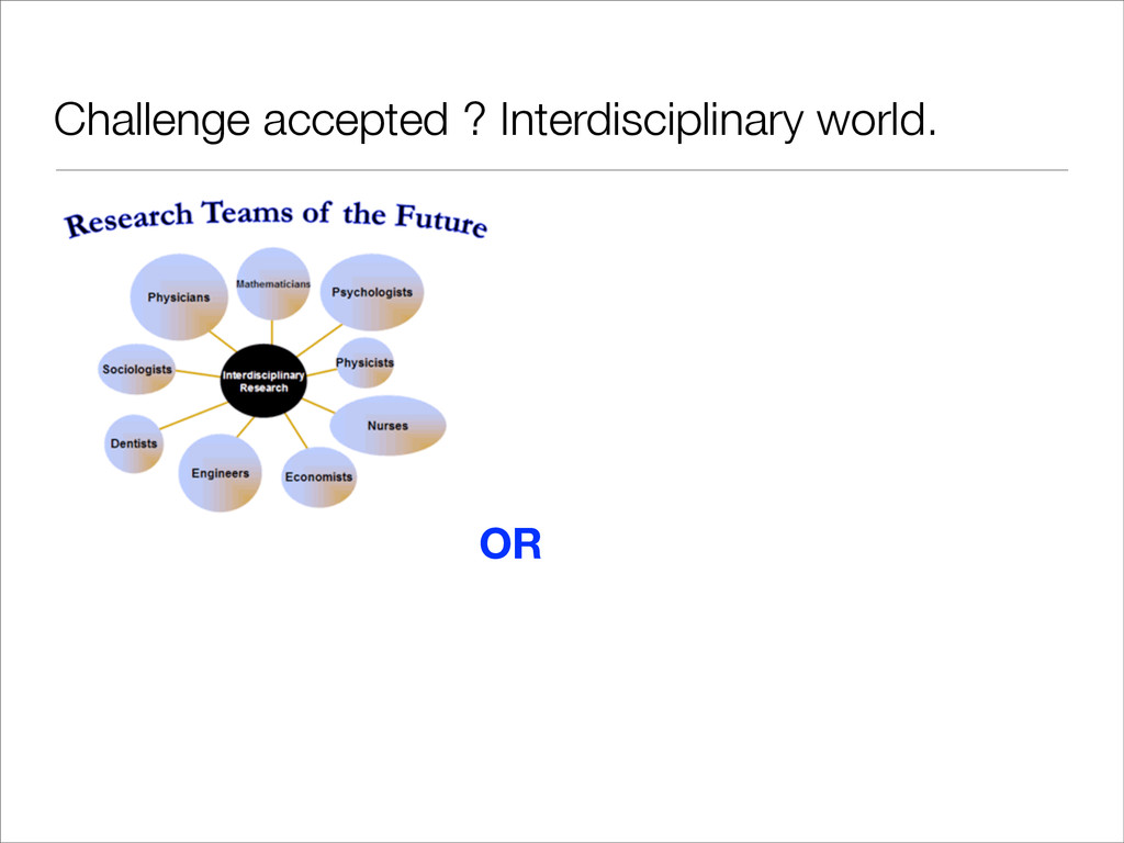 Challenge accepted ? Interdisciplinary world. OR