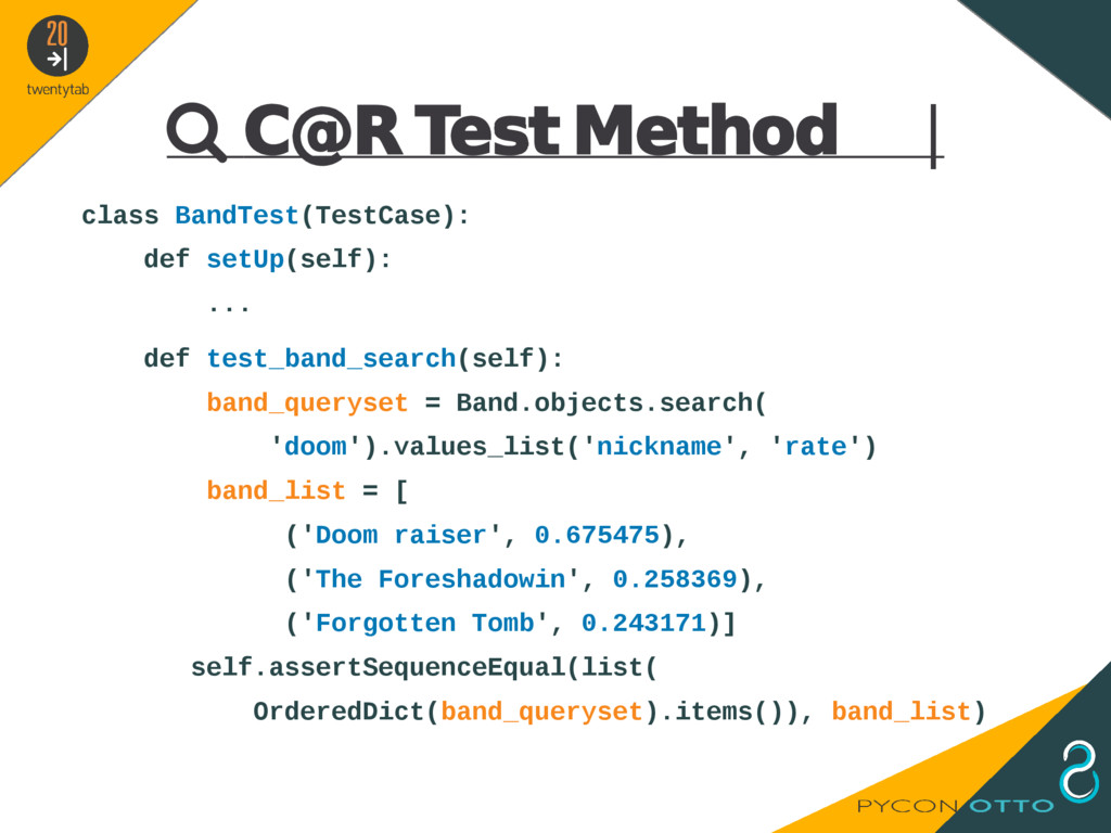  C@R Test Method   class BandTest(TestCase): d...