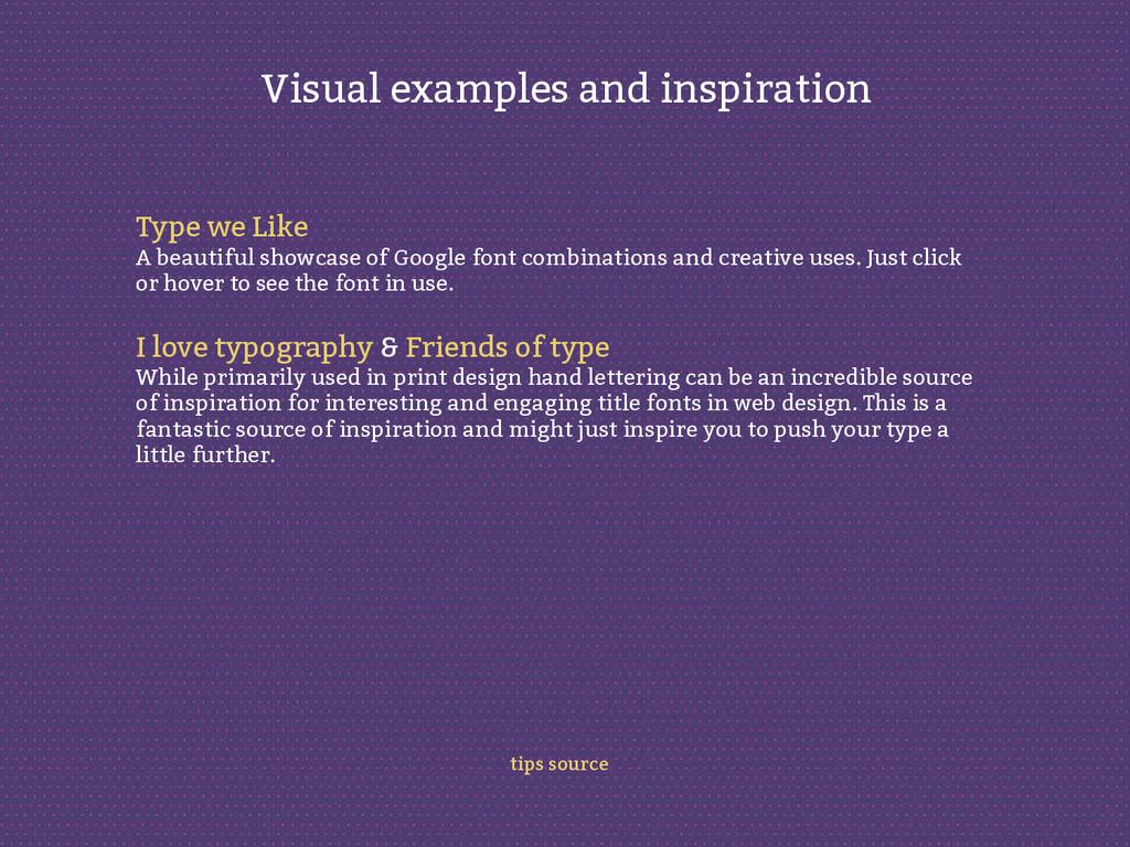 Type we Like A beautiful showcase of Google fon...