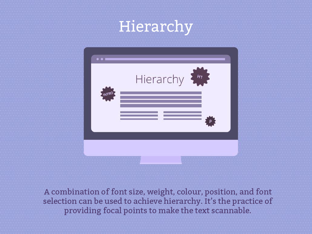Hierarchy A combination of font size, weight, c...