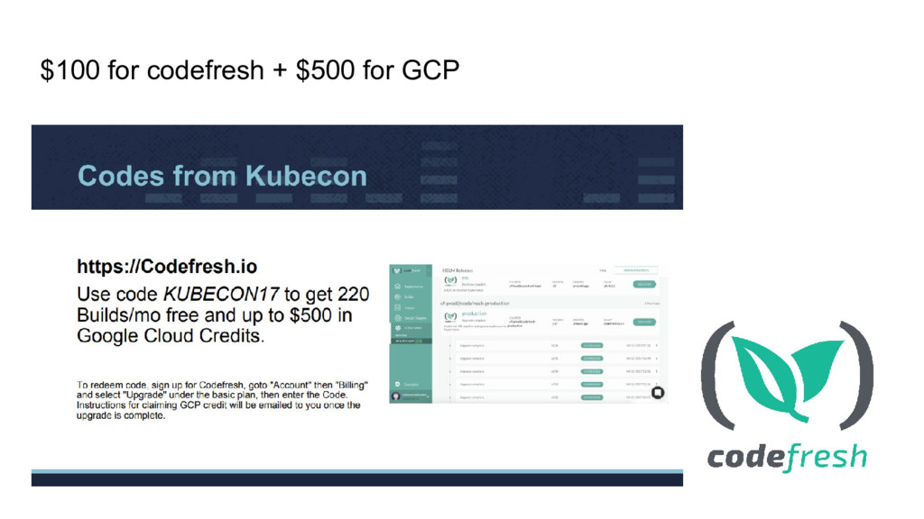 $100 for codefresh + $500 for GCP