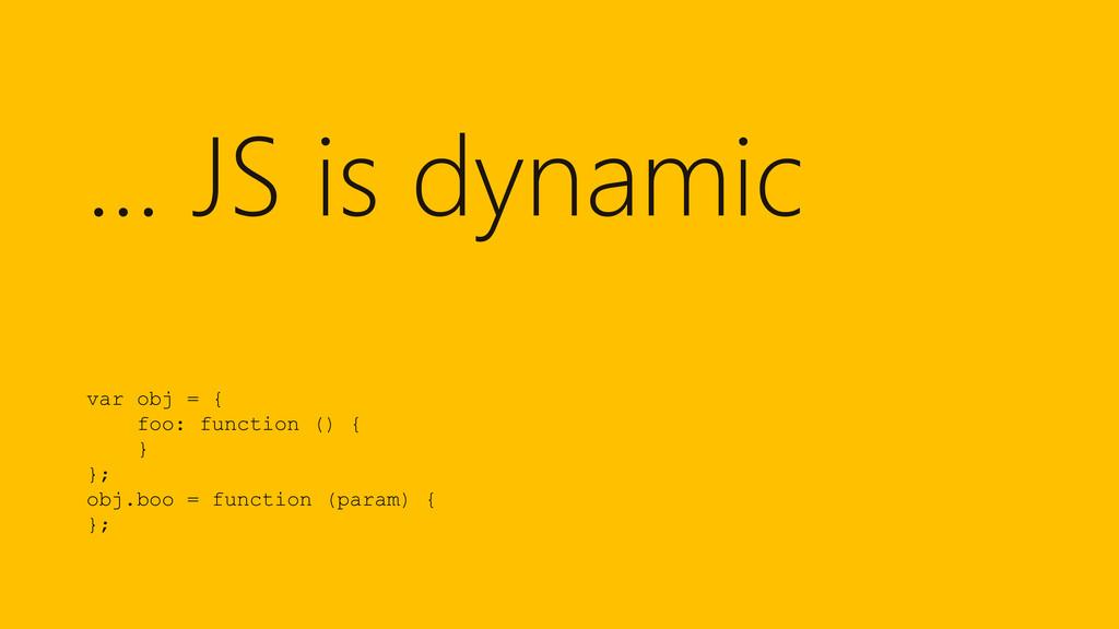 … JS is dynamic var obj = { foo: function () { ...