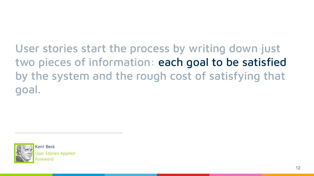 12 User stories start the process by writing do...