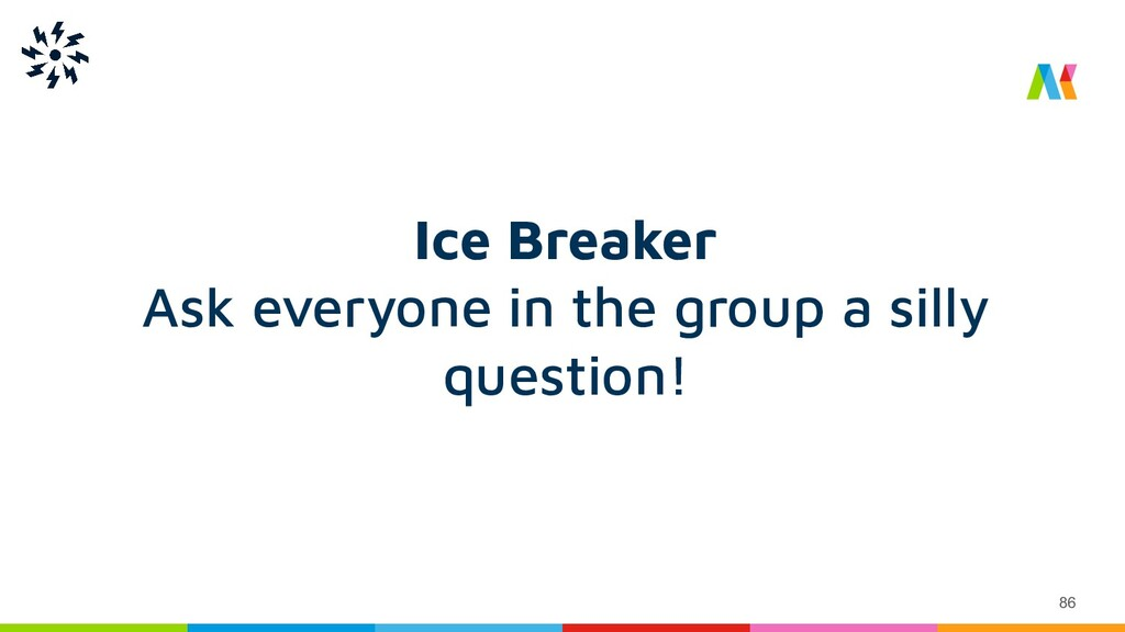 86 Ice Breaker Ask everyone in the group a sill...