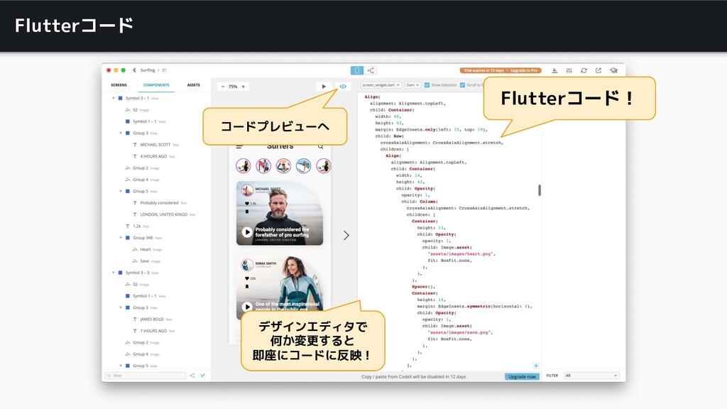 Flutterコード コードプレビューへ Flutterコード! デザインエディタで 何か変更...