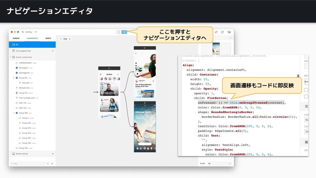 ナビゲーションエディタ ここを押すと ナビゲーションエディタへ 画面遷移もコードに即反映