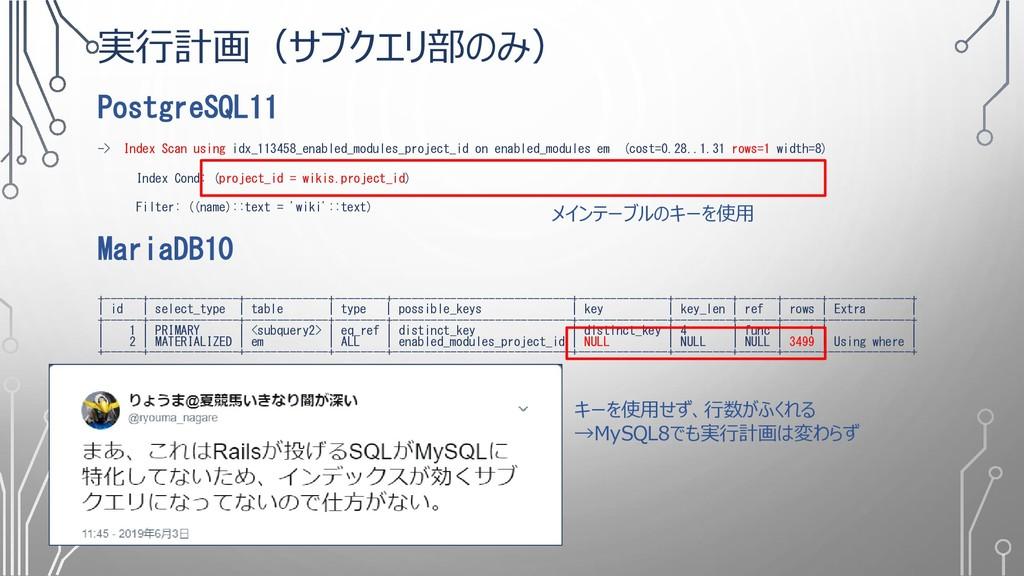 実行計画(サブクエリ部のみ) PostgreSQL11 -> Index Scan using...