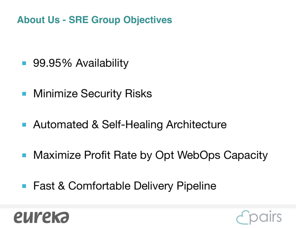 About Us - SRE Group Objectives ■ 99.95% Availa...