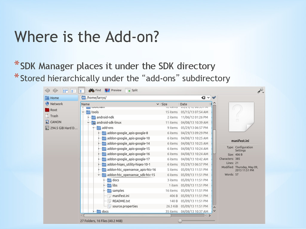 Where is the Add-on? *SDK Manager places it un...