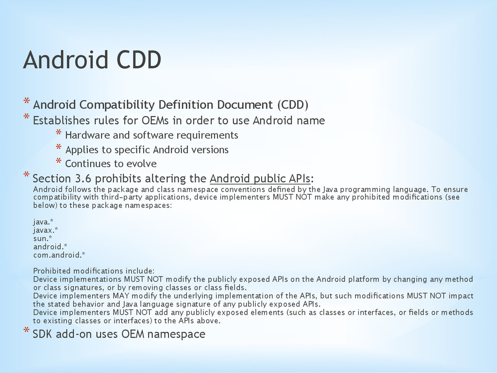 Android CDD *Android Compatibility Definition ...