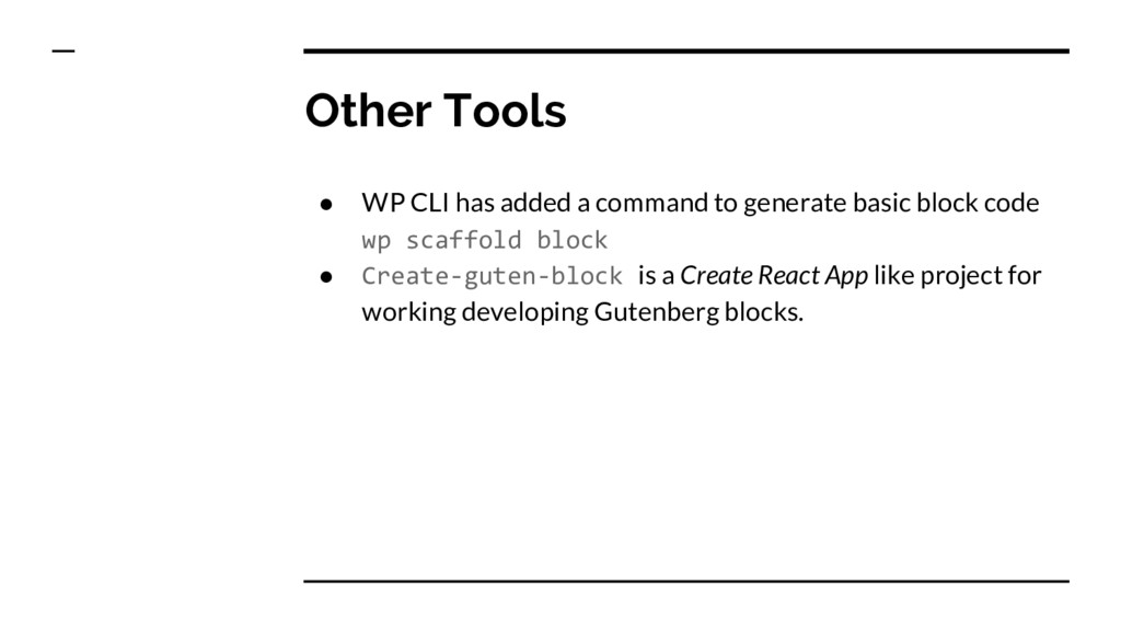 ● WP CLI has added a command to generate basic ...