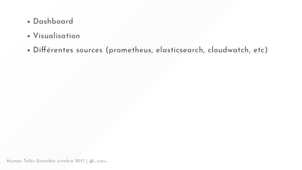 Dashboard Visualisation Di érentes sources (pro...