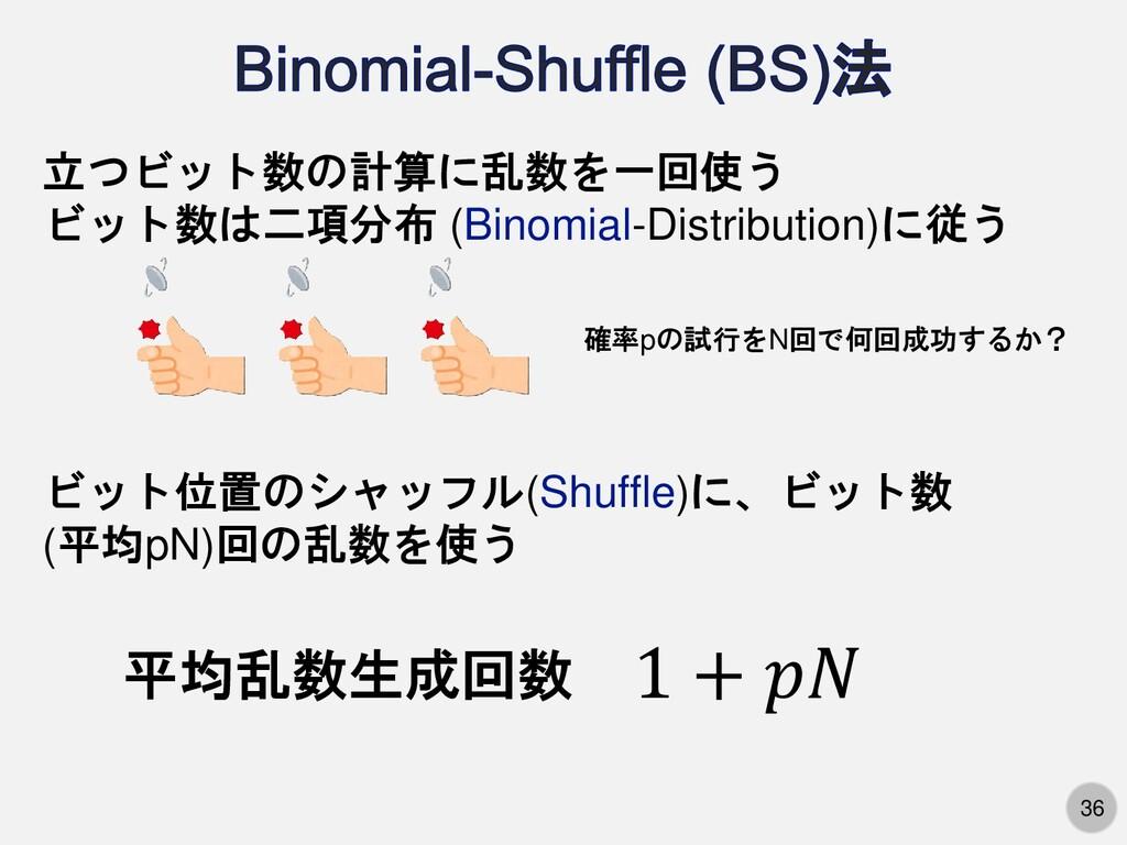 36 立つビット数の計算に乱数を一回使う ビット数は二項分布 (Binomial-Distri...