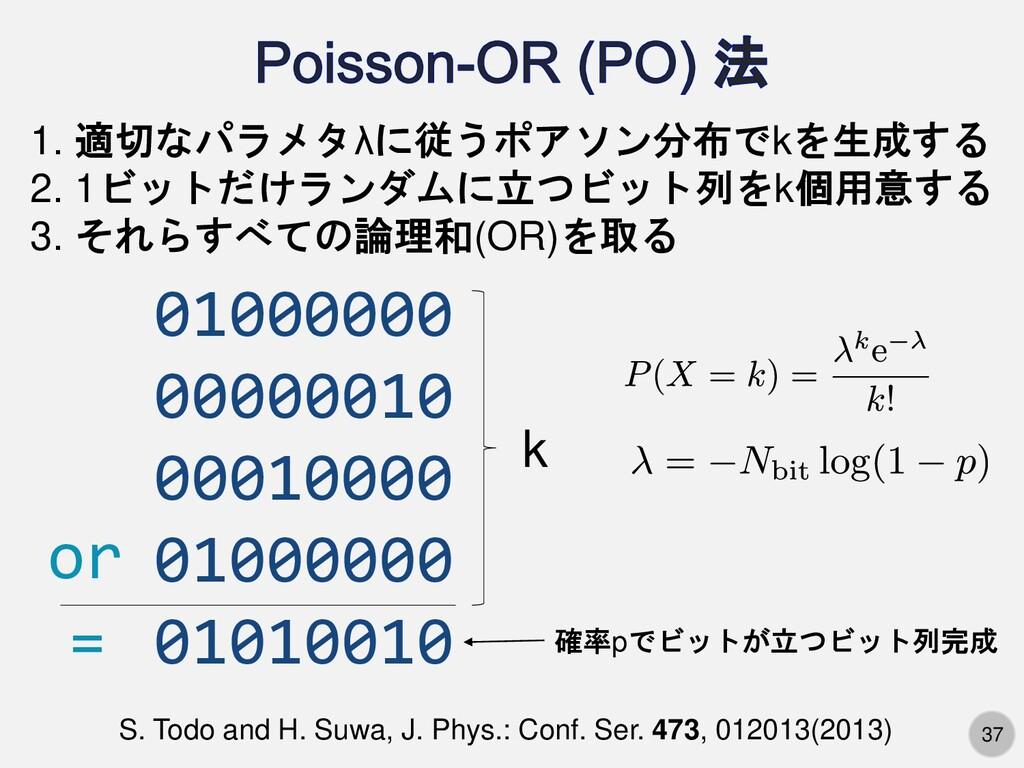37 1. 適切なパラメタλに従うポアソン分布でkを生成する 2. 1ビットだけランダムに立つ...