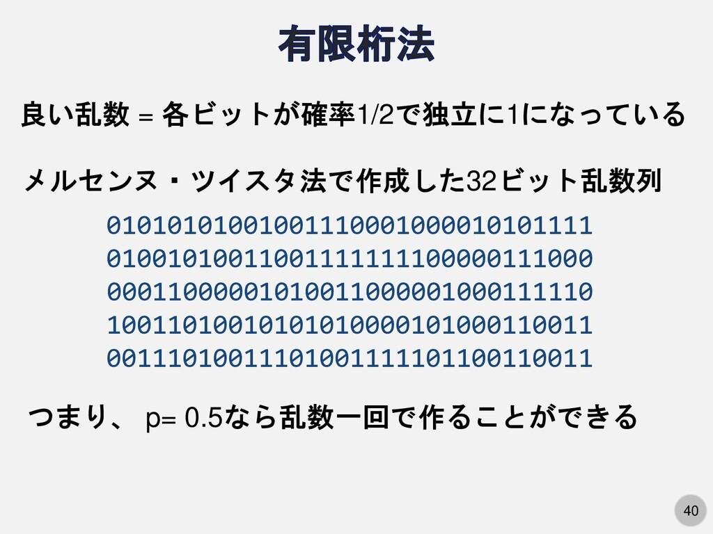 40 良い乱数 = 各ビットが確率1/2で独立に1になっている 010101010010011...