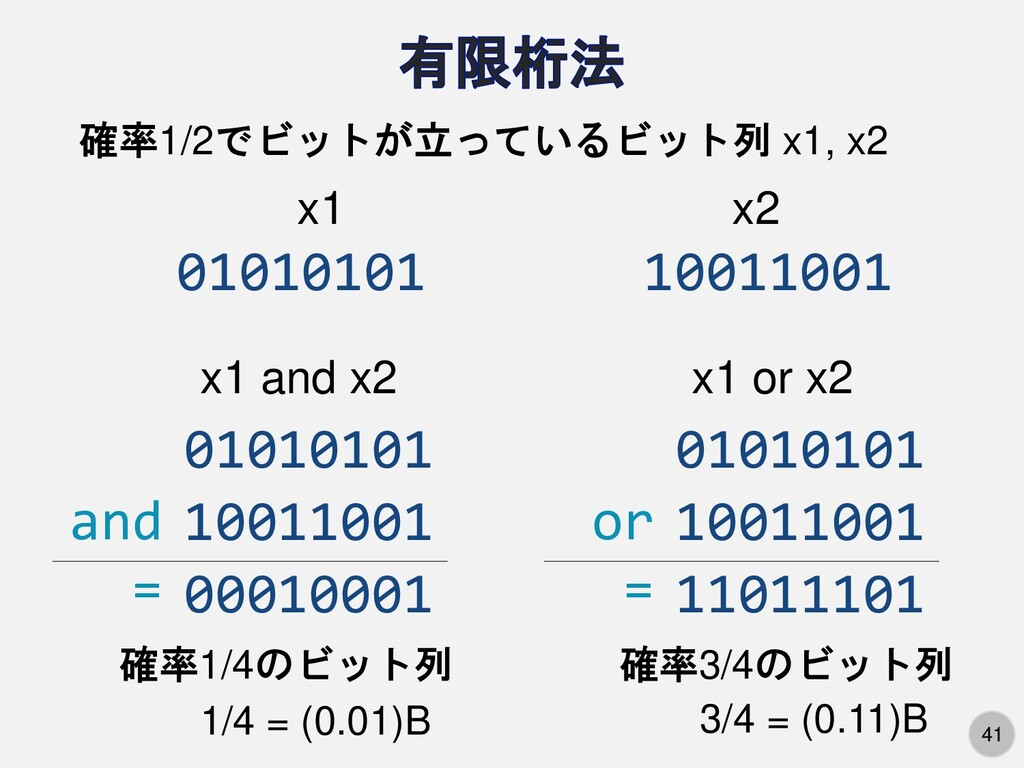 41 確率1/2でビットが立っているビット列 x1, x2 01010101 10011001...